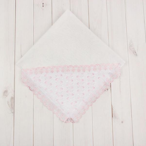 Пелёнка (уголок) нарядная, размер 75*75 см, цвет розовый У1а