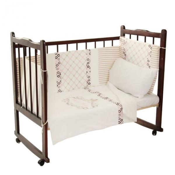 """Комплект в кроватку """"Для принцессы"""" (6 предметов), цвет бежевый 10015"""