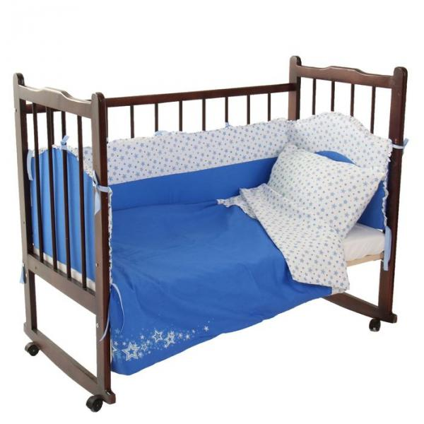 """Комплект в кроватку """"Звёздочки"""" (6 предметов), цвет голубой 10622"""