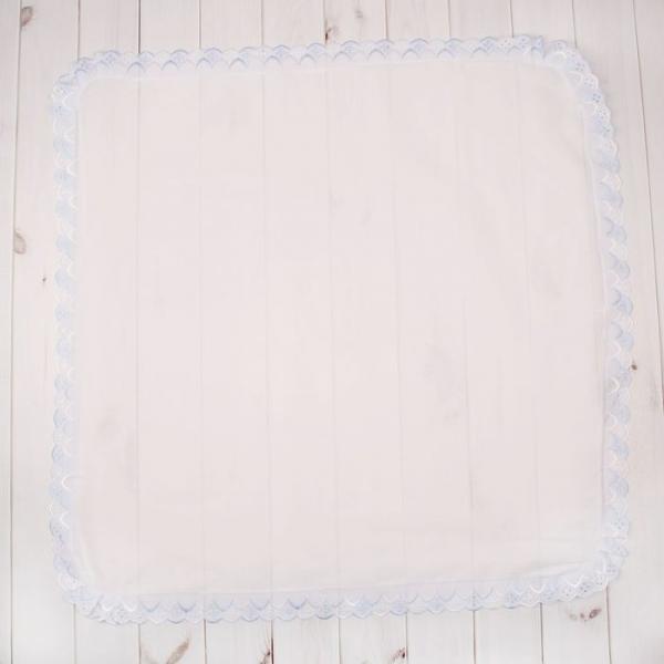 Простынка для крещения, размер 80*80 см, цвет белый/голубой 00101-03