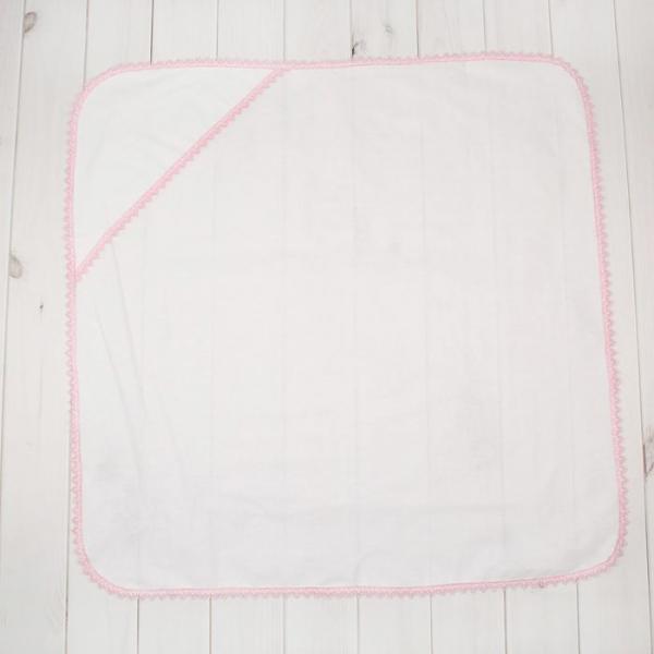 Простынка для крещения для девочки, размер 78*78 см, цвет белый/розовый  00102-08