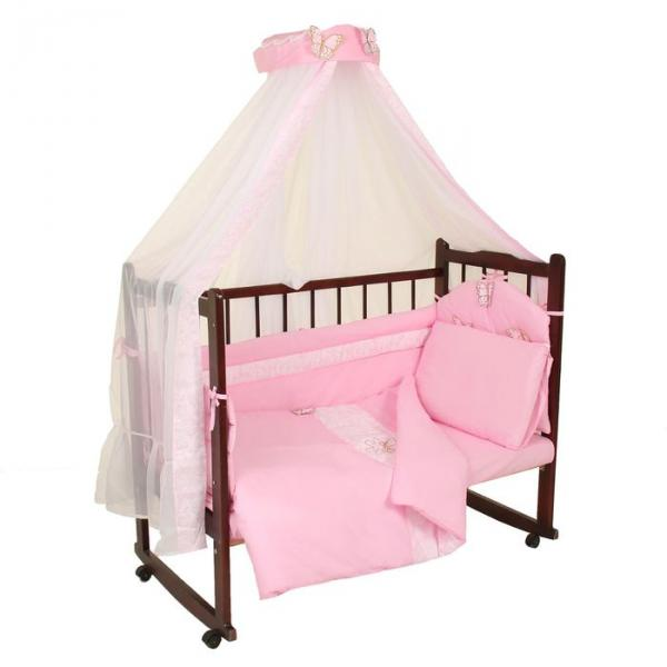 """Комплект в кроватку """"Бабочки"""" (7 предметов), цвет розовый 45"""