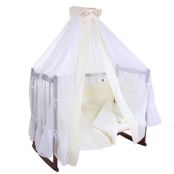 """Комплект в кроватку """"Бабочки"""" (7 предметов), цвет бежевый 45"""
