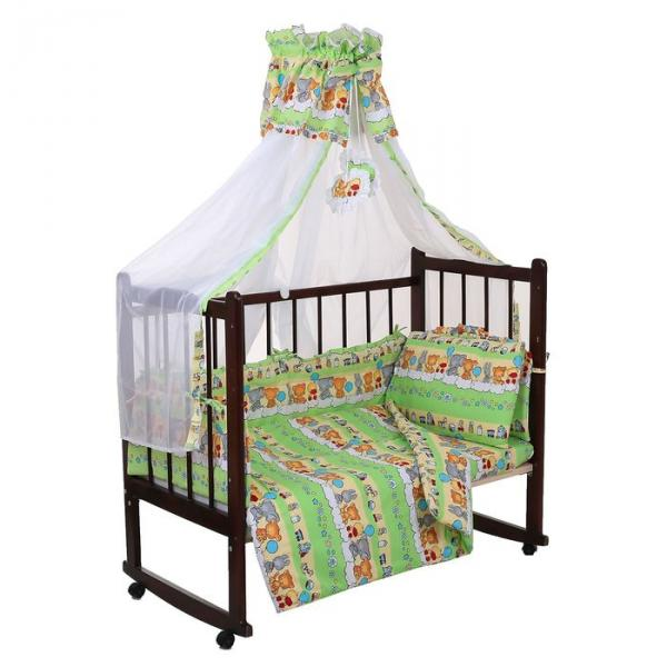Комплект в кроватку (7 предметов), цвет зелёный микс 24.5