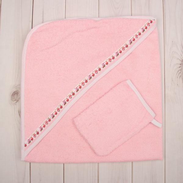 Комплект для купания (2 предмета), размер 80*80 см, цвет розовый М.713