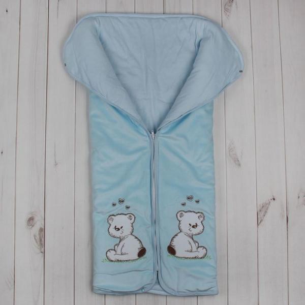 Конверт-одеяло на молнии, размер 82*92 см, цвет голубой 11-150