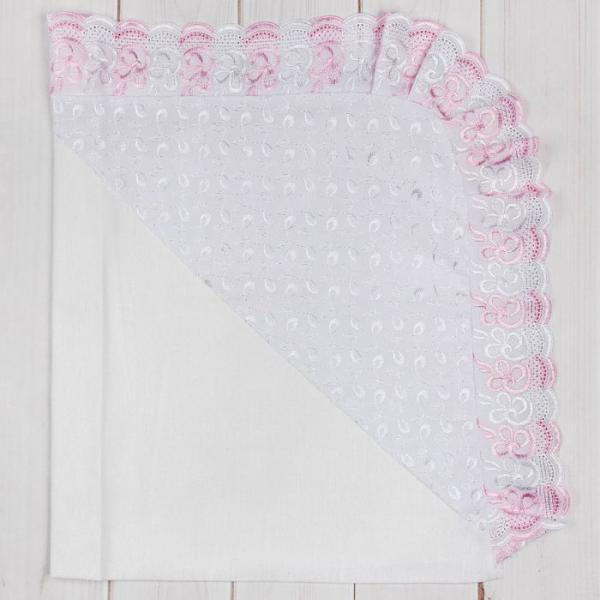 Уголок детский на выписку, размер 75*75 см, цвет МИКС (голубой, розовый, белый) 1216