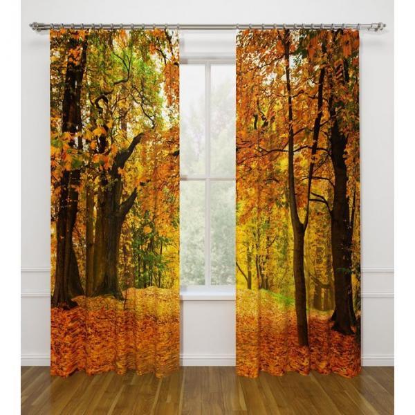 """Фотошторы """"Осенний листопад"""", ширина 145 см, высота 260 см-2 шт., габардин 07458"""
