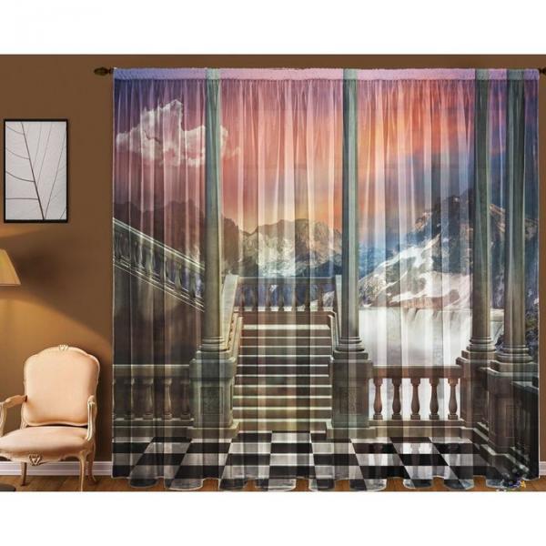 """Тюль """"Тишина"""" (290x270 см)+/- 3 см (2 полотна на общей шторной ленте), шифон, 100% полиэстер"""