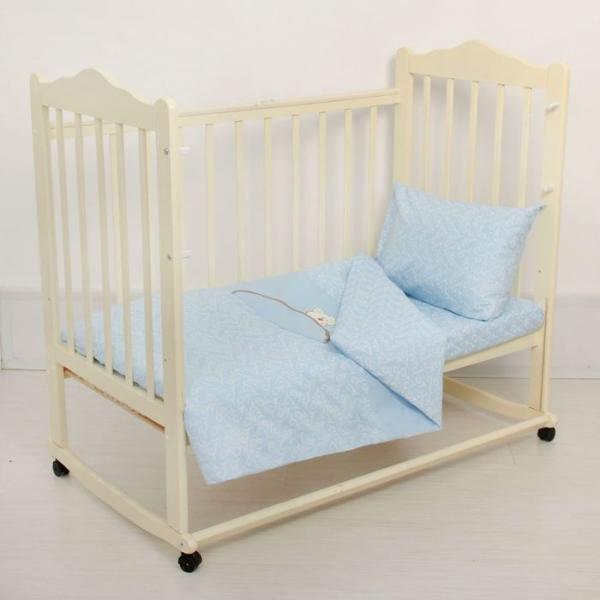 Комплект постельного белья (3 предмета), цвет голубой 07.27