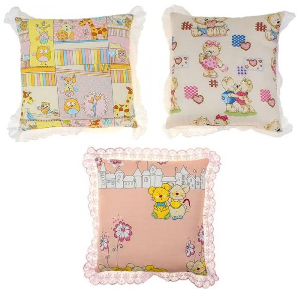 Подушка, размер 35*35 см, цвет розовый микс 09.1ш