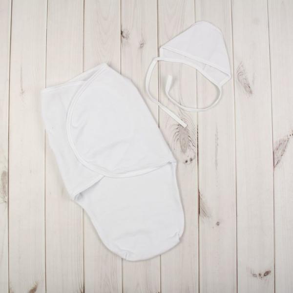 Пеленка-кокон и чепчик, размер 62 см (40) см, цвет белый 62ф