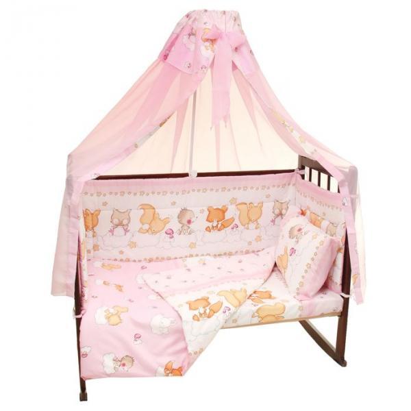 Комплект в кроватку (5 предметов), цвет розовый 08504-06
