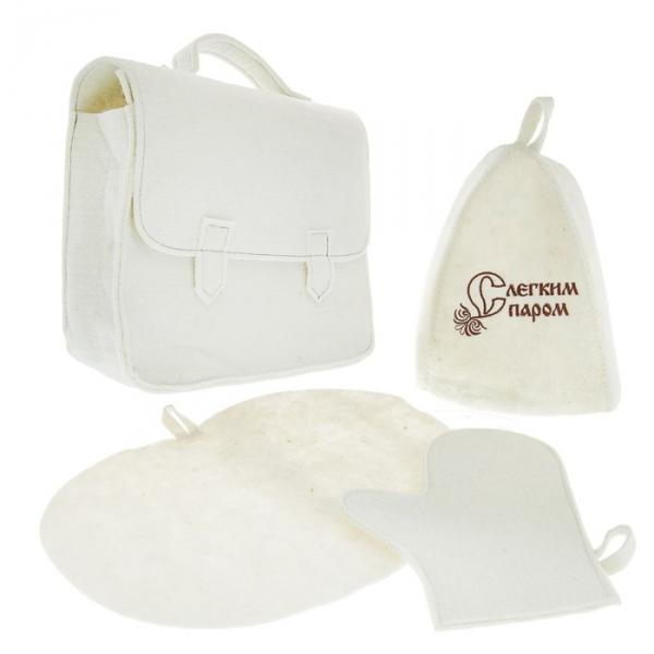 Набор для бани и сауны с вышивкой «С лёгким паром»: шапка, рукавица, коврик, белый