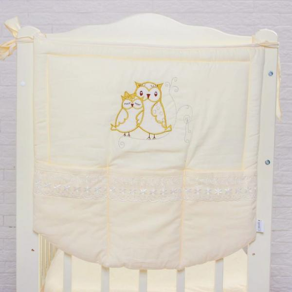 "Карман на кроватку ""Совушки"", размер  60* 60 см, цвет бежевый 5073"