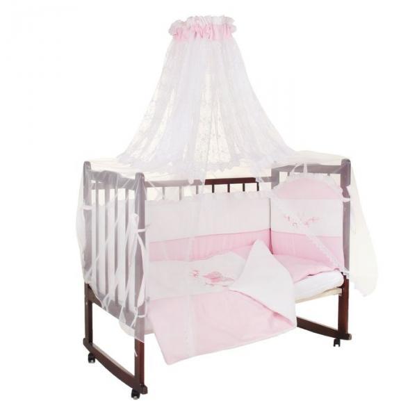 """Комплект в кроватку """"Абэль"""" (7 предметов), цвет розовый 1126"""