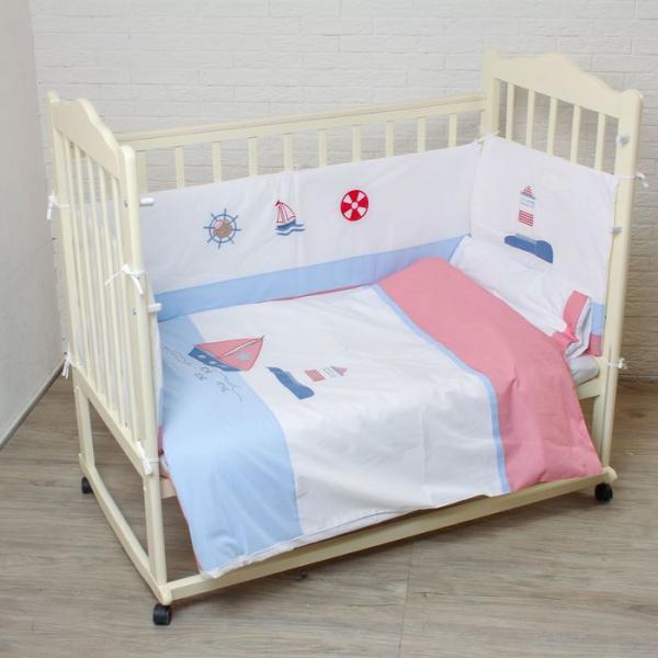 """Комплект в кроватку """"Кораблик"""" (6 предметов), цвет белый 7090"""