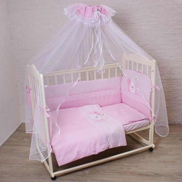 """Комплект в кроватку """"Сладкий сон"""" (7 предметов),цвет розовый 7028Роз"""
