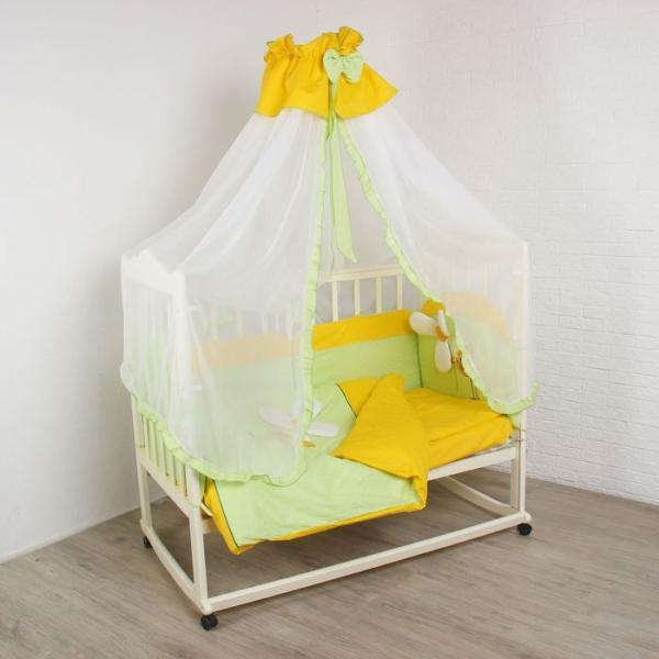 """Комплект в кроватку """"Цыпленок"""" (7 предметов), цвет зелёный 30134"""