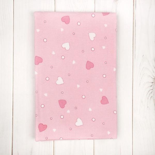 Пелёнка детская  Розовые сердца 75*120 см, фланель,160 г/м2,100% хлопок