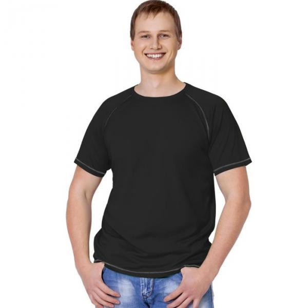 Футболка мужская StanPrint, размер 50, цвет чёрный-серый меланж 140 г/м 30