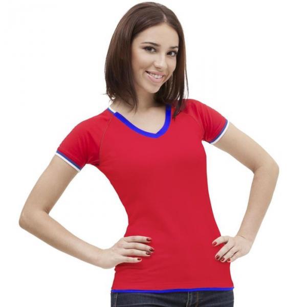 Футболка женская MoscowStyle, размер 52, цвет красный 200 г/м 14W021