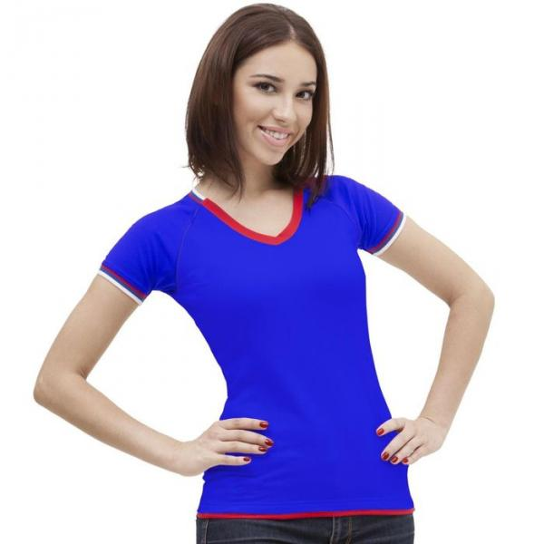 Футболка женская MoscowStyle, размер 52, цвет синий 200 г/м 14W021