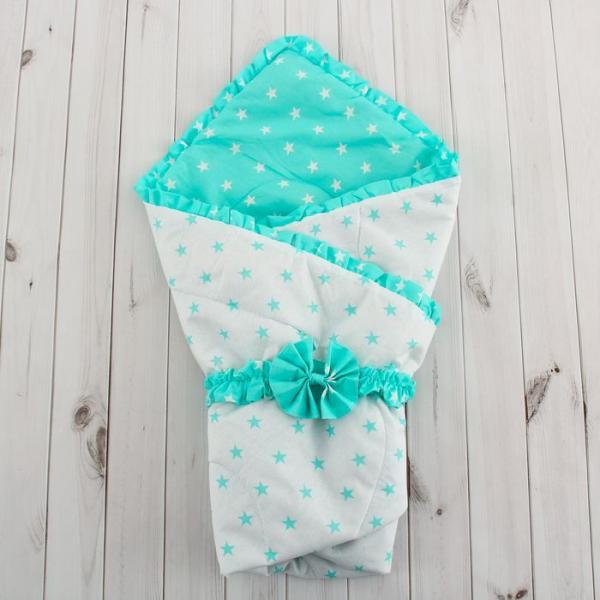 """Одеяло на выписку """"Звёздочки"""", размер 110х110 см, цвет белый/мята"""