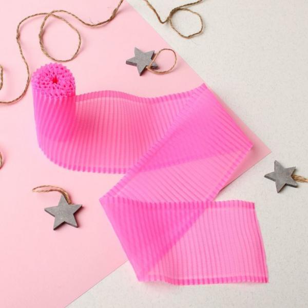 Лента гофрированная на выписку, размер 3 м, цвет розовый ЯВ119186