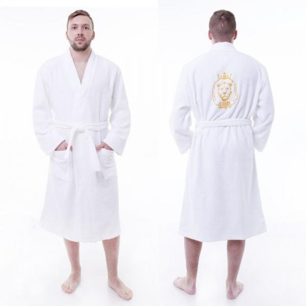 "Халат махровый ""Царь"" мужской, размер 56-58, цвет белый, хлопок 100% с AIRO, 340 г/м2"