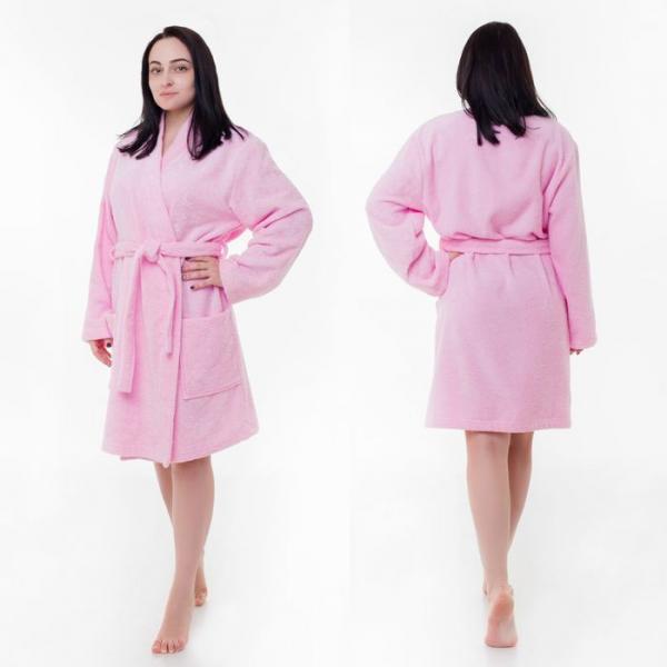"""Халат махровый """"Экономь и Я"""" женский размер 46-48 розовый, 340 г/м2, хл. 100% с AIRO"""
