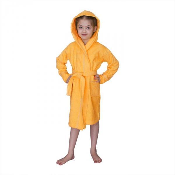 Халат махровый для девочки капюшон+кант, цв. оранжевый, рост 104, хл100%