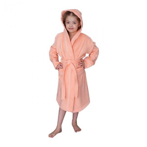 Халат махровый для девочки капюшон+кант, цв. персик, рост 92, хл100%