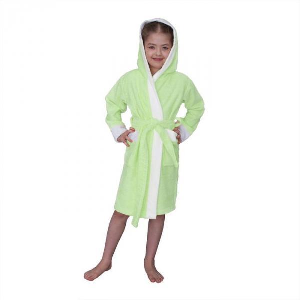 Халат махровый для девочки капюшон + комби/белый, цв. салатовый, рост 92, хл100%
