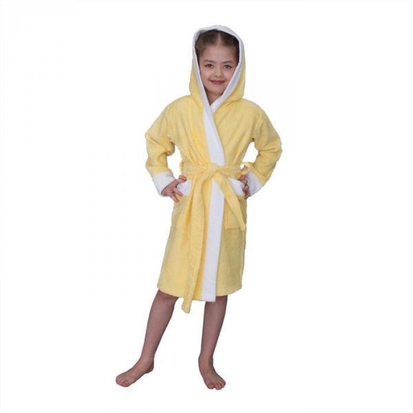 Халат махровый для девочки капюшон + комби/белый, цв. желтый, рост 110, хл100%