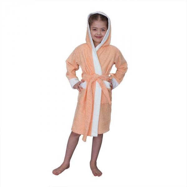 Халат махровый для девочки капюшон + комби/белый, цв. персик, рост 128, хл100%