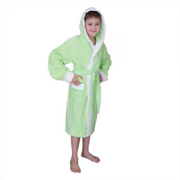 Халат махровый для мальчика капюшон + комби/белый, цв. салатовый, рост 98, хл100%
