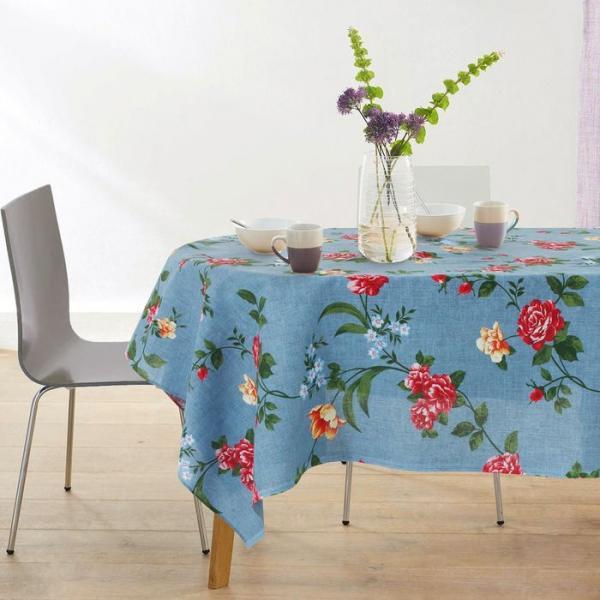 Набор Розы син (скатерть 150х180, 6 салфеток) рогожка 160г/м, хл100%