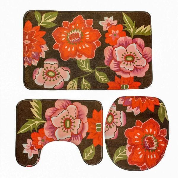 """Набор ковриков для ванной и туалета """"Красные цветы"""" 3 шт"""