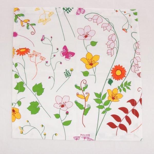 Салфетка Полевые цветы на белом фоне, 40х40, 178 г/м2, хл100%