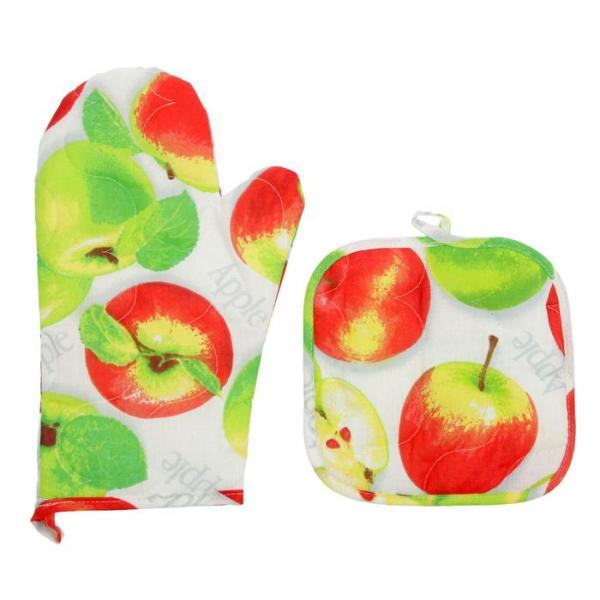 Набор для кухни (рукавичка- прихватка, прихватка) Яблочное угощение, бязь 125г/м, хл100%