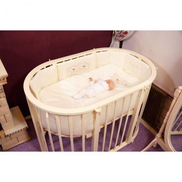 Комплект в овальную кроватку (6 предметов) Incanto, сатин, цвет бежевый