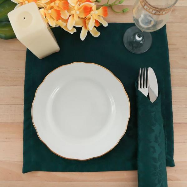 """Набор салфеток """"Этель"""" Роскошь 32х32 см - 4 шт., цвет Тёмно-зелёный, пл. 192 г/м2, хл. с ГМО"""