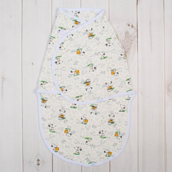 Пеленка-кокон на липучках, рост 50-68 см, цвет белый, принт микс 1173_М