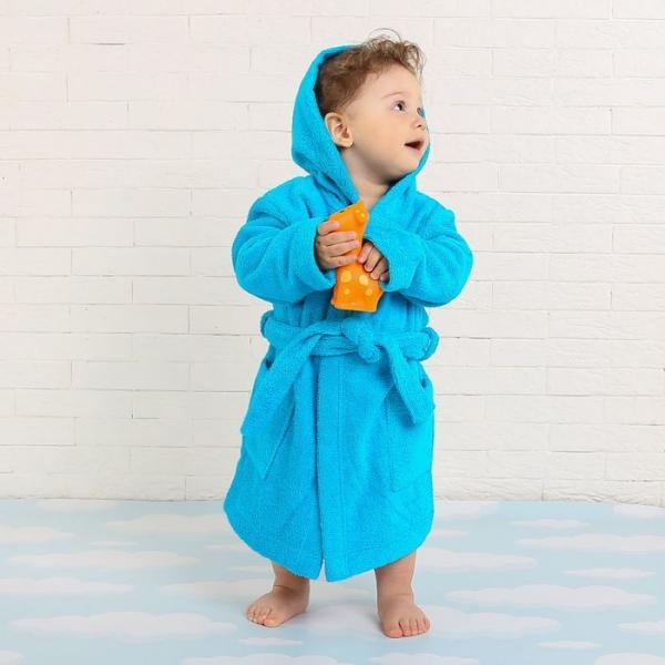 Халат махровый детский, размер 28, цвет морской, 340 г/м2 хл.100% с AIRO