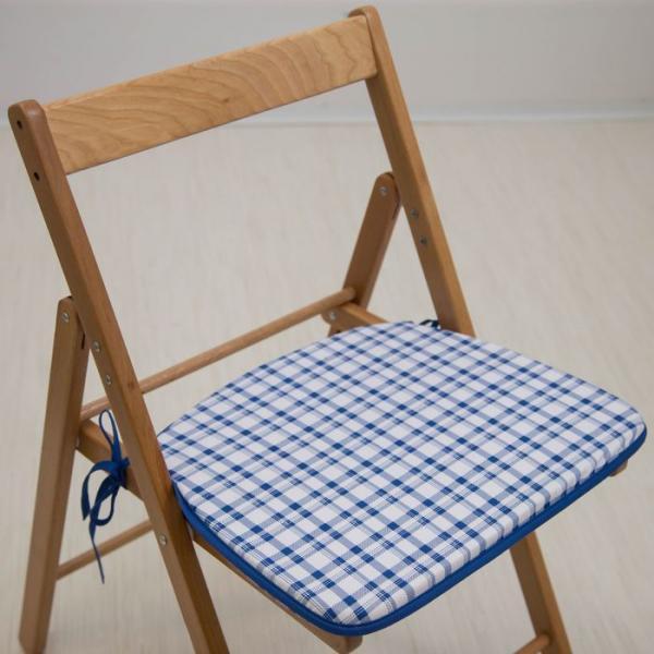 """Сидушка на стул """"Синяя клетка"""", 41 х 36 х 3 см"""
