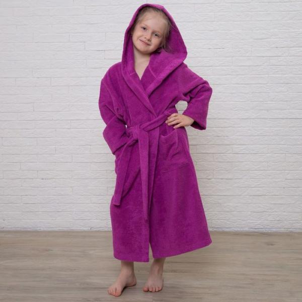 Халат махровый детский, размер 36, цвет розовый, 340 г/м2 хл.100% с AIRO