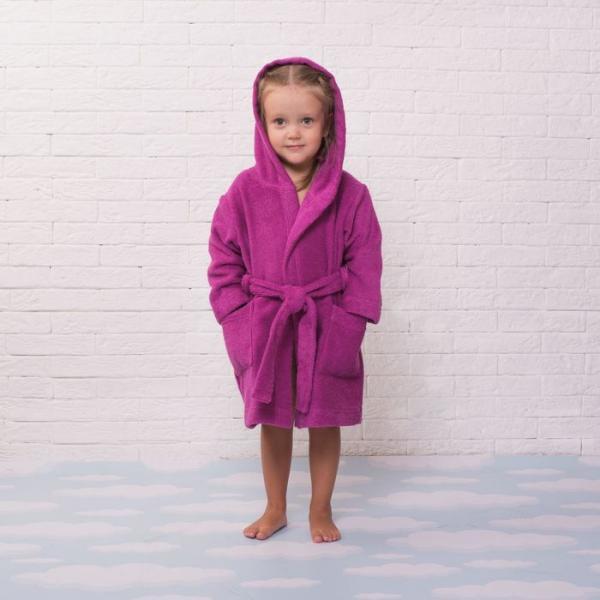 Халат махровый детский, размер 30, цвет розовый, 340 г/м2 хл.100% с AIRO