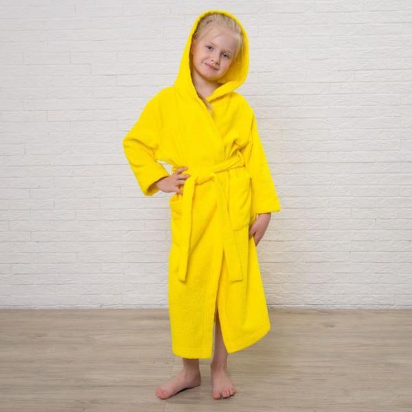 Халат махровый детский, размер 36, цвет жёлтый, 340 г/м2 хл.100% с AIRO