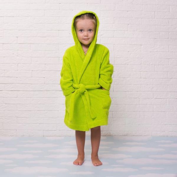 Халат махровый детский, размер 30, цвет салатовый, 340 г/м2 хл.100% с AIRO